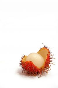 An open rambutan